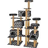 TecTake Arbre à Chat XXL Griffoir corde de coco 214 cm | 4 Abris confortables | 4 Plateformes - diverses couleurs au choix (Gris avec empreintes de pattes | no. 402808)