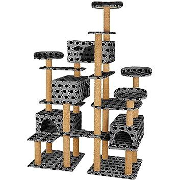 TecTake Árbol rascador para Gatos 214 cm de Altura | 4 Plataformas de observación | 4 cómodas madrigueras (Gris/Patitas | no. 402808): Amazon.es: Hogar