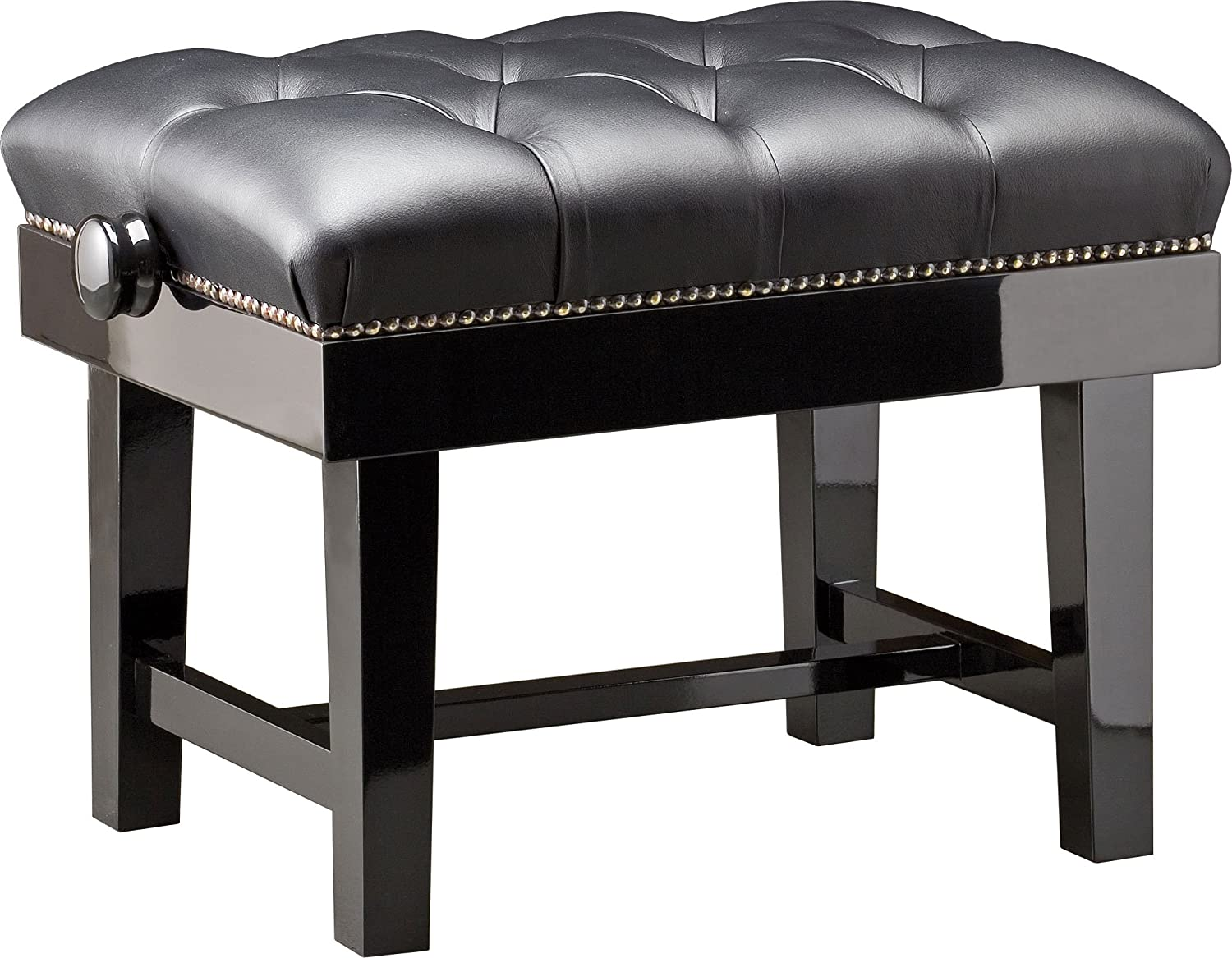 CGM 125QUEEN Premium Quality Height Adjustable Concert Piano Stool In Black  Gloss U0026 Black Buttoned Leather Upholstery: Amazon.co.uk: Musical Instruments