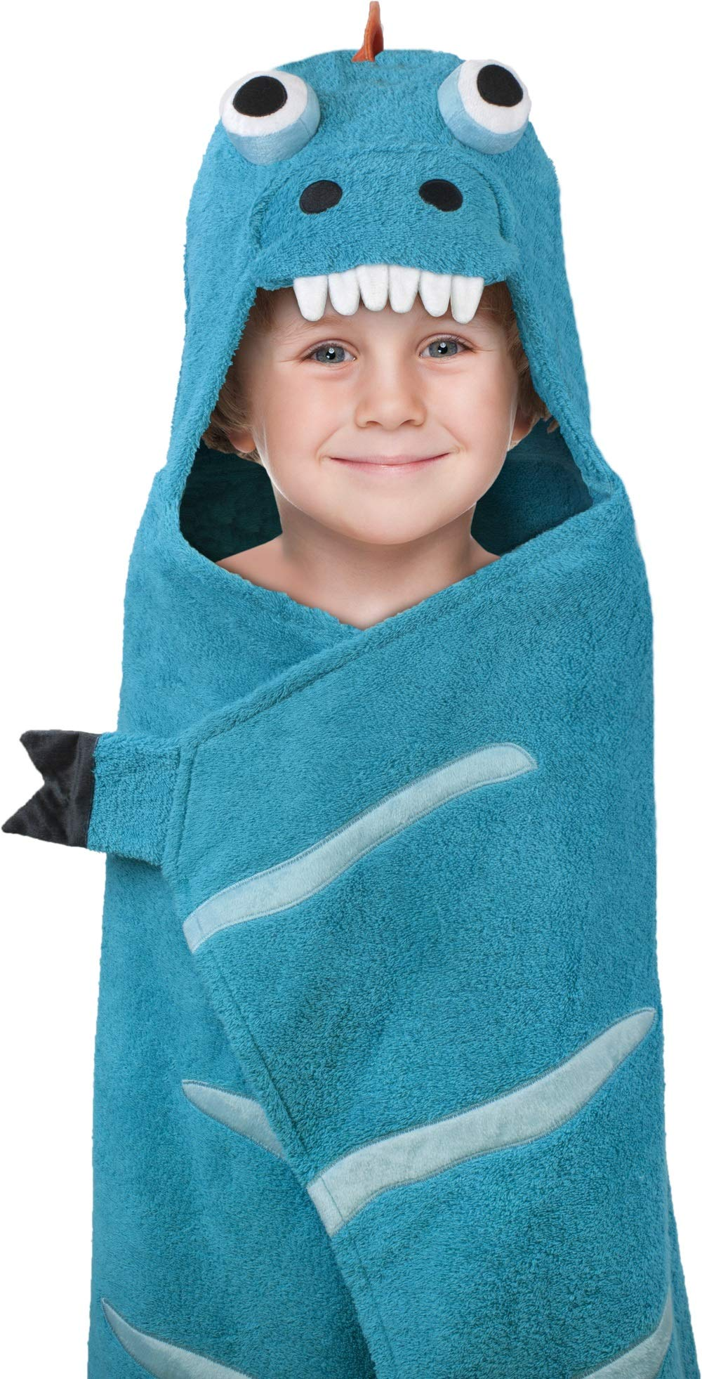 Hooded Towel for Kids, Oversize Cotton Character Hood Towel - Makes Getting Dry Fun - Ideal Beach Towels for Toddlers & Small Children - Use at The Pool or Bath Time, 26 x 45'', Blue/Orange Dino
