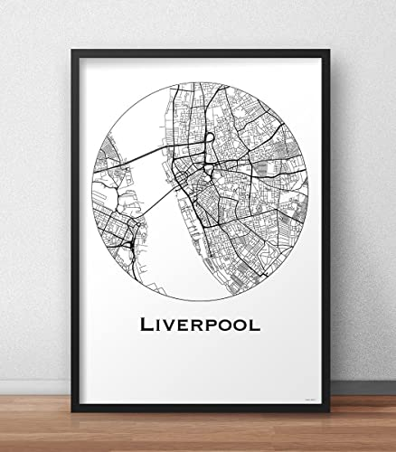 Plakat Liverpool England Minimalist Map - Poster, City Map ...