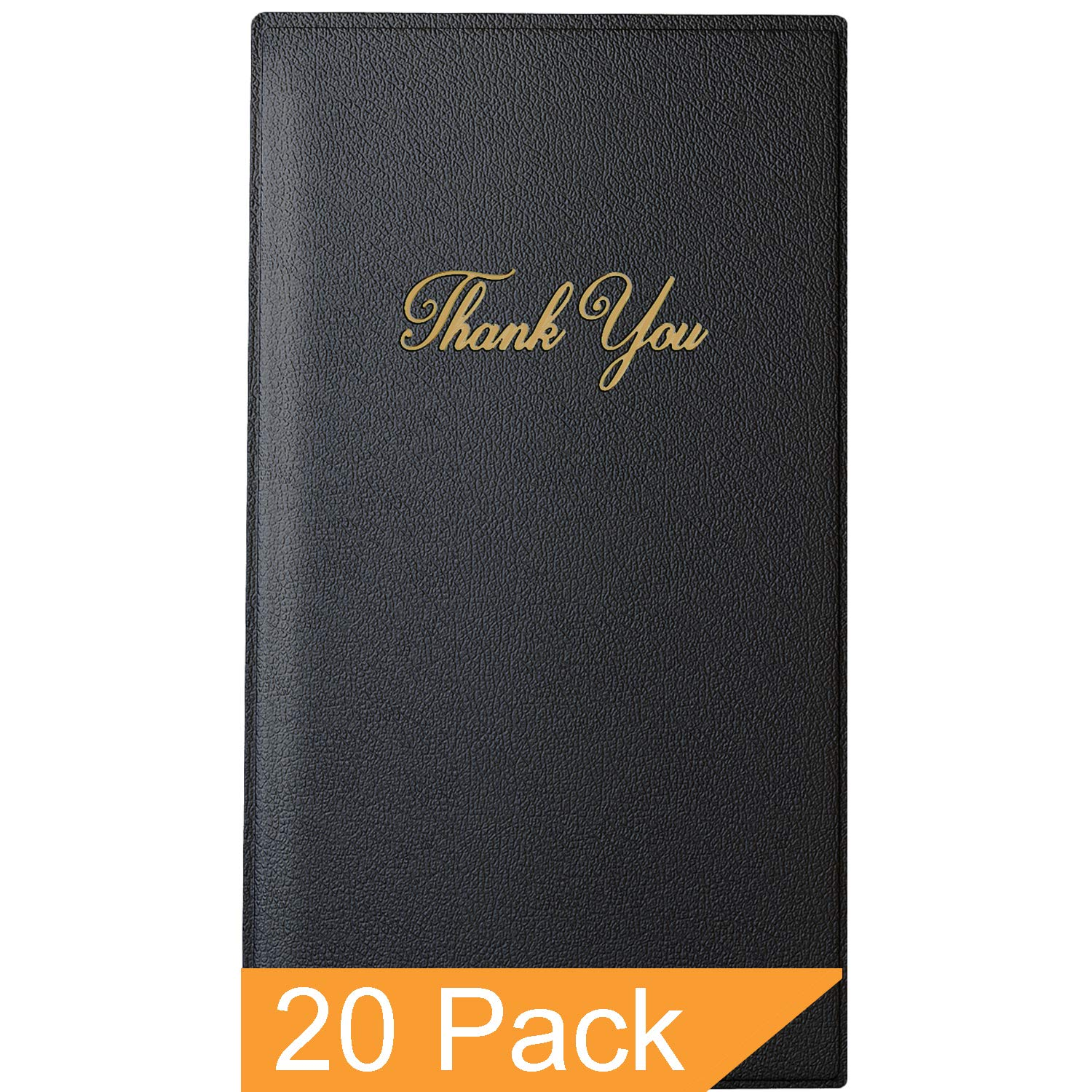 Guest Check Card Holder - Presenter with Gold Thank You Imprint - 5.5'' x 10'' (Standard, Black_20_Pack, 20)