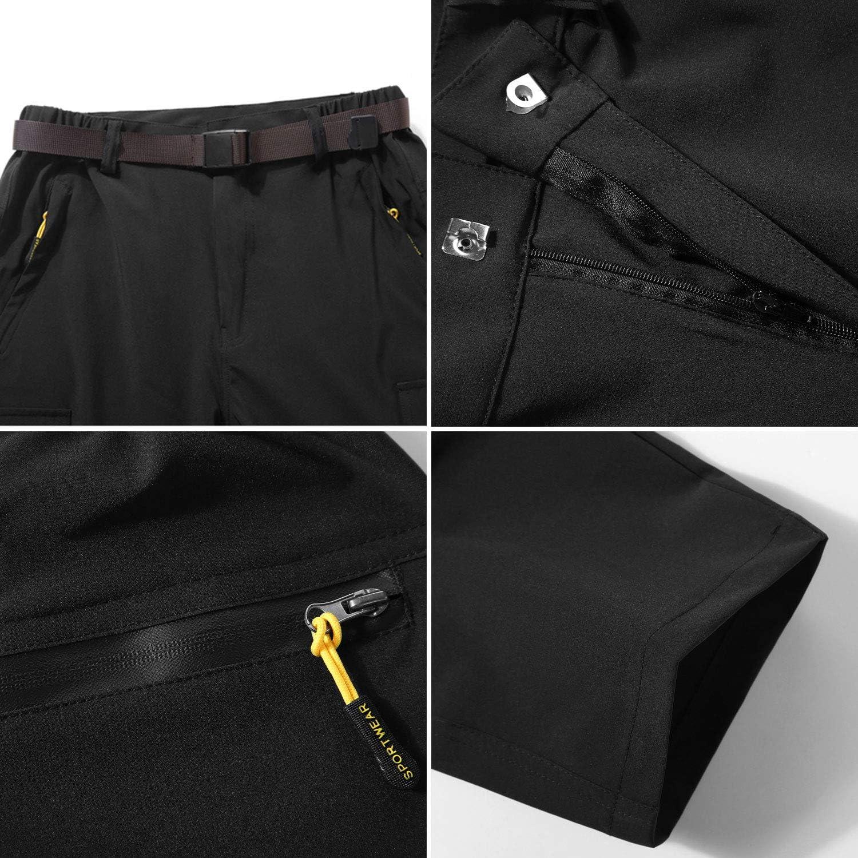 LHHMZ Hombres Secado r/ápido al Aire Libre Pantalones de Senderismo Convertibles Transpirable Impermeable Zip Off Pantalones de Escalada para Caminar