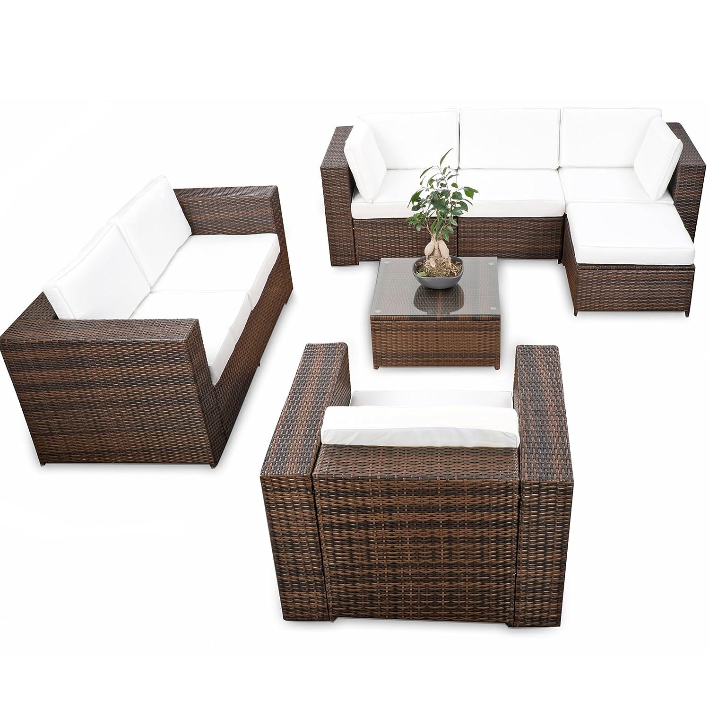 erweiterbares 23tlg. Polyrattan Lounge Möbel Set Ecksofa - braun-mix - Sitzgruppe Garnitur Gartenmöbel Lounge Set XXL - inkl. Lounge Ecke + Sessel + Hocker + Tisch + Kissen