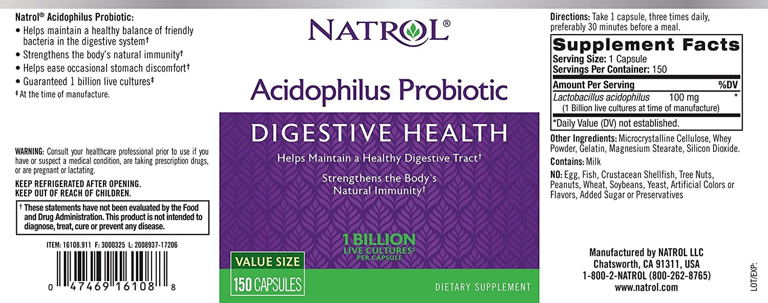 Natrol Acidophilus 100mg Capsules, 150-Count (Pack of 3) by Natrol: Amazon.es: Salud y cuidado personal