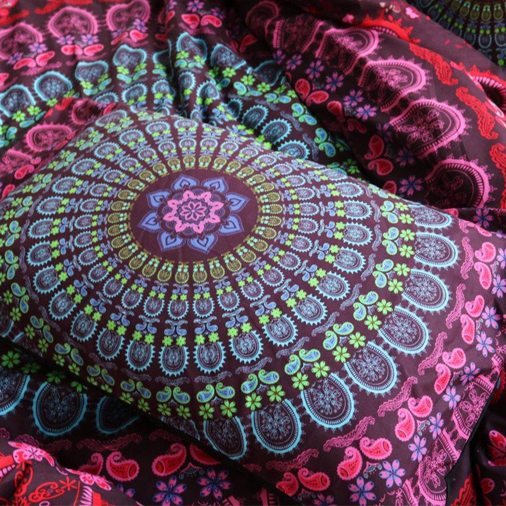 3 Piece Duvet Cover and Pillow Shams Bedding Sets, Bohemian Mandala Style Black Color Bedding Sets Queen Size