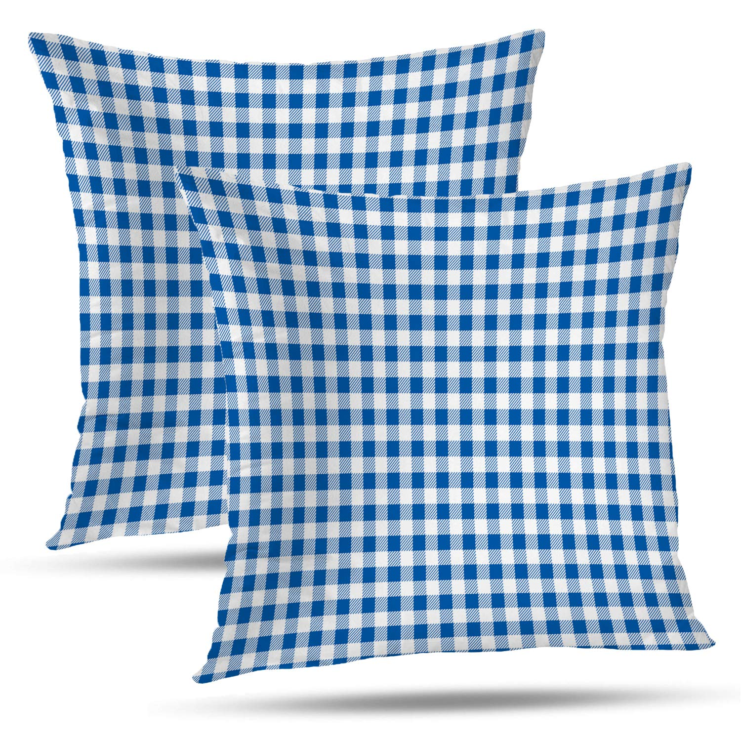 Excellent Batmerry Gingham Pillow Covers 18X18 Inch Set Of 2 Blue And White Checkered Fabric Design Double Sided Decorative Pillows Cases Throw Pillows Covers Ibusinesslaw Wood Chair Design Ideas Ibusinesslaworg