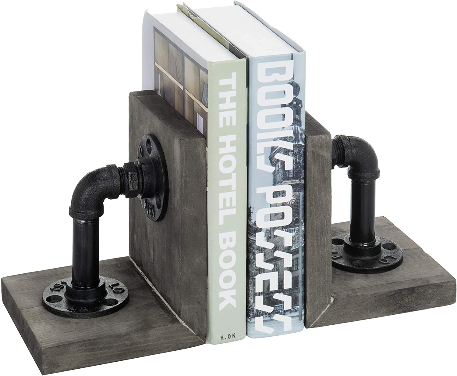 MyGift Industrial Pipe & Gray Wood 6-Inch Metal Bookends, 1-Pair