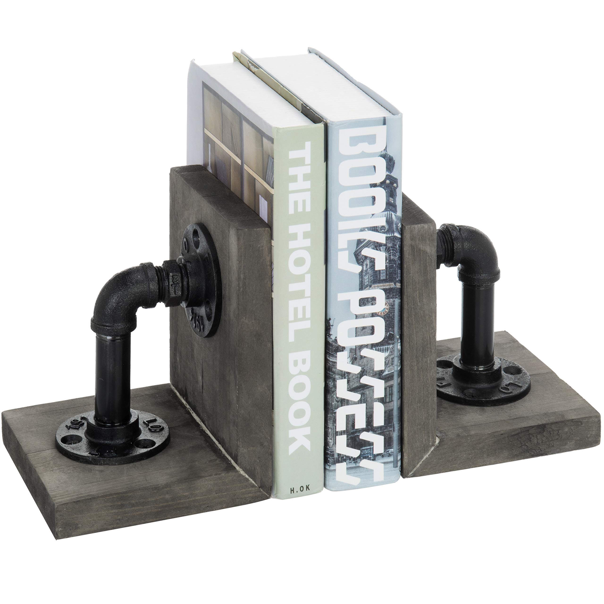 MyGift Industrial Pipe & Gray Wood 6-Inch Metal Bookends, 1-Pair by MyGift