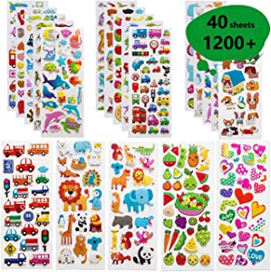 Syolee Puffy Stickers for Kids 40 Different Sheets 1200+ 3D Stickers Party Favors for Scrapbooking Teachers Journal Including Animal, Numbers, Hearts, Pets, Dinosaurs, Vehicles and More