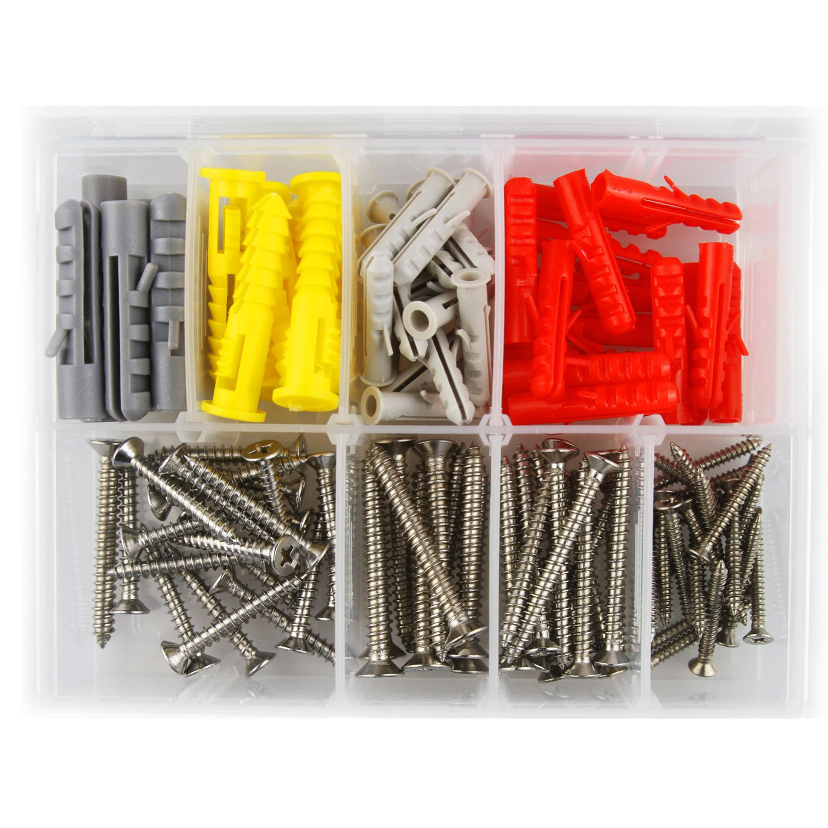 Molly bolts, Self Drilling drywall anchors Stainless Steel screw assortment, heavy duty drywall anchors with screws, sheetrock anchors (110 pcs plastic wall anchors and screws) by Momo Promos