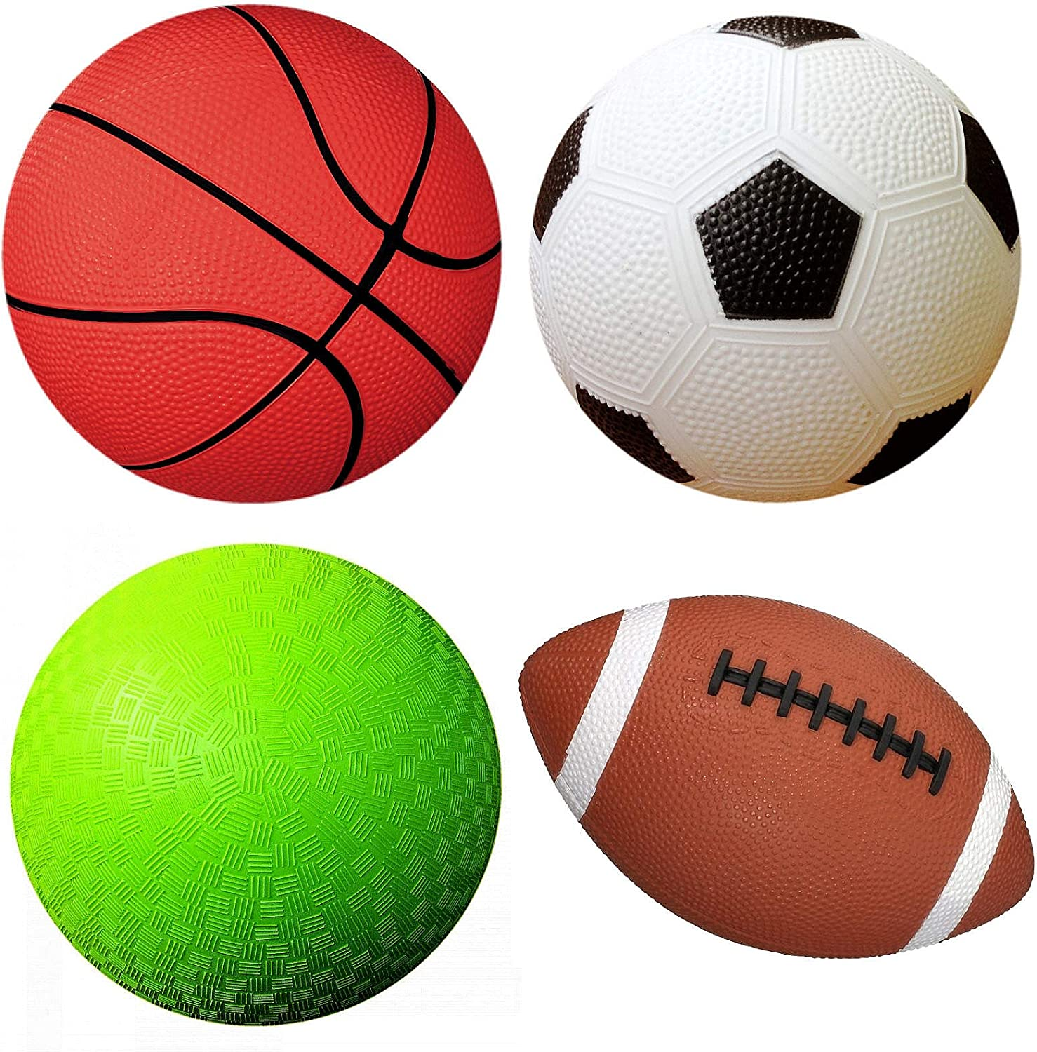 Amazon Com Appleround Pack Of 4 Sports Balls With 1 Pump 1 Each Of 5 Soccer Ball 5 Basketball 5 Playground Ball And 6 5 Football 1 Pack 4 Balls 1 Pump Sports Outdoors