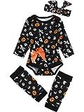 Baby Girls' 3PCS Ghost Outfits Set Halloween Pumpkin Costume Long Sleeve Bodysuit