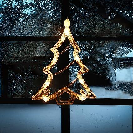 silivn christmas lighted window decorations xmas trees silhouette 1pcs - Christmas Window Decorations Amazon