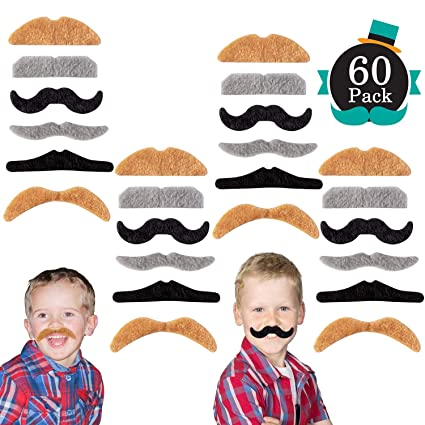 9366bc6ceb3 Image Unavailable. Image not available for. Color  Whaline 60 Piece Fake  Mustache Self Adhesive Costume Novelty Mustaches for Party Supplies ...