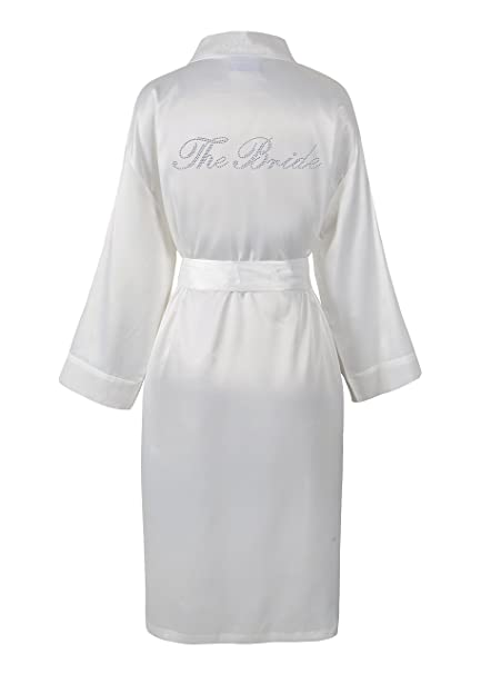 ae9140a0cd Ivory Varsany The Bride Satin Rhinestone Bathrobe Personalised Diamante Dressing  gown Kimono  Amazon.co.uk  Kitchen   Home