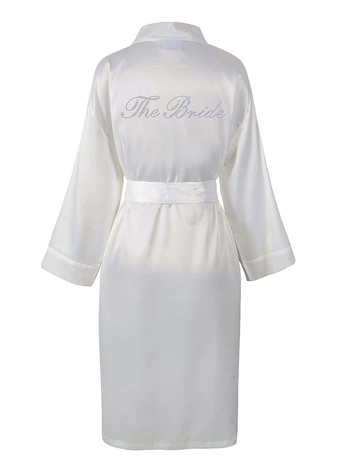 Varsany Women's Rhinestone Satin The Bride Bathrobe VARBathrobe1027
