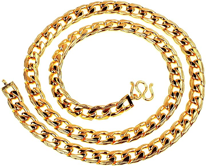 Heavy Men S Necklace 24k Gold Plated Thai Curb Link Baht Chain 24