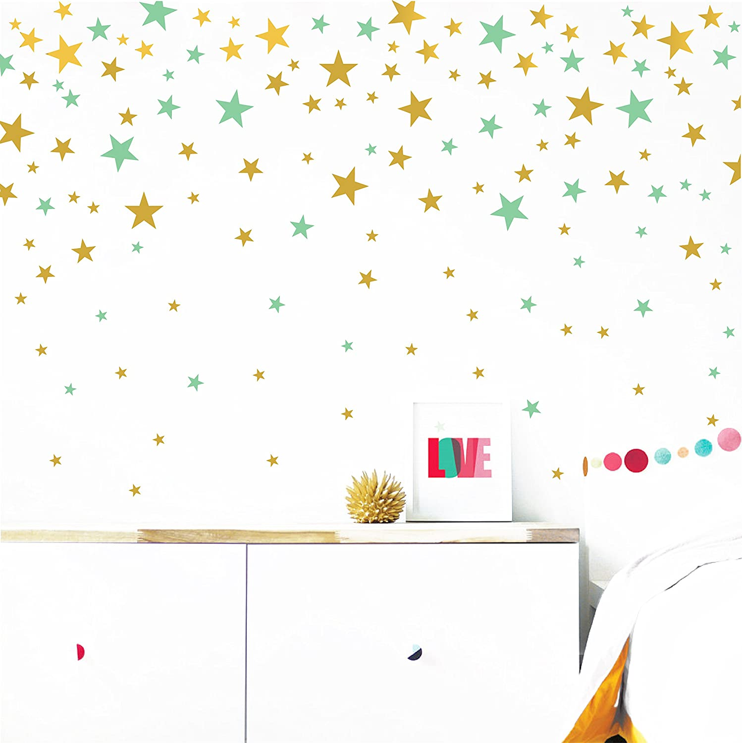 Gold and Mint Stars Wall Vinyl Decal Decor Nursery. Adhesive Star Stickers for Kids. Baby Nordic Stars Bedroom Decoration.