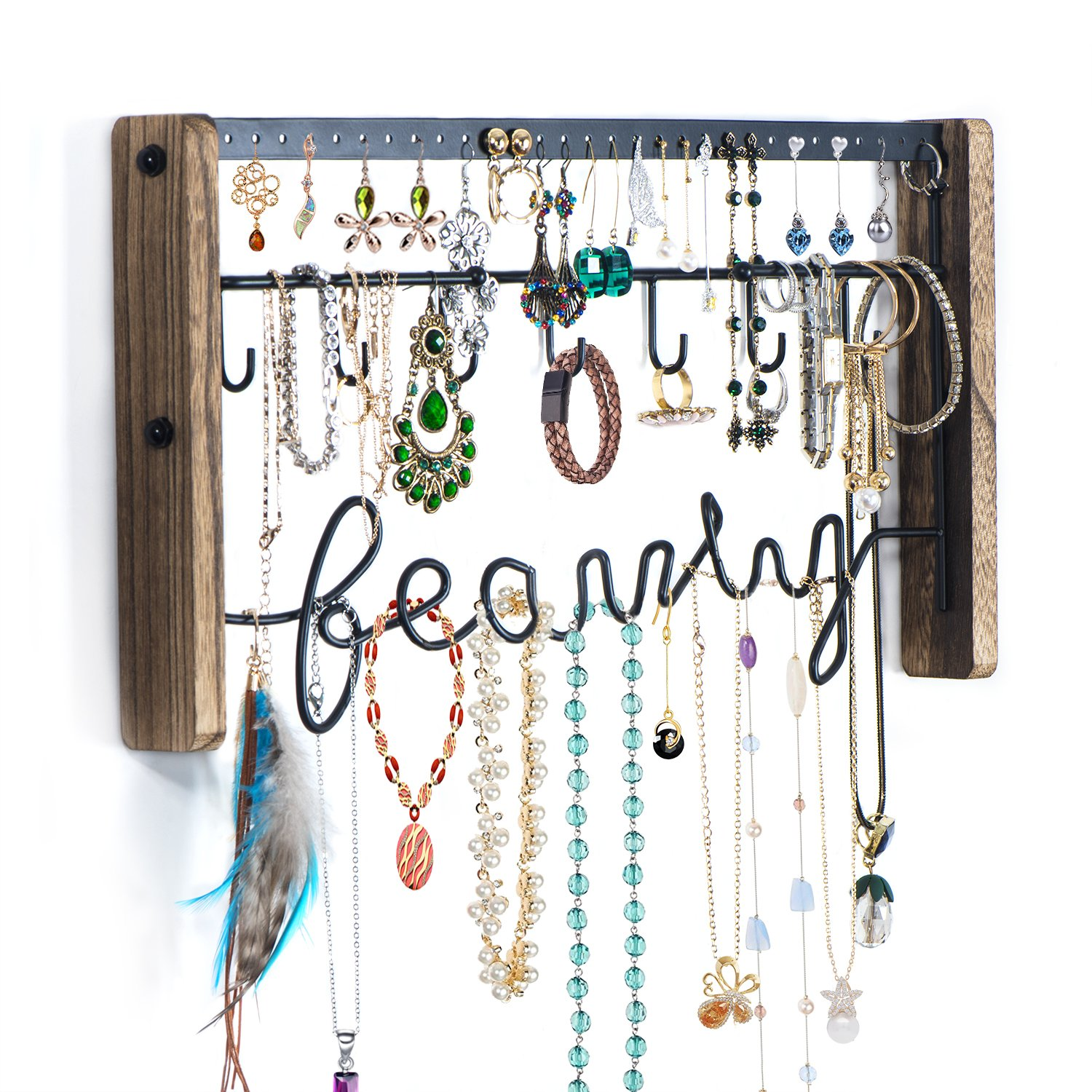 Love-KANKEI Jewelry Organizer Wall Mount - Black Metal & Rustic Wood Necklace Organizer Holder for Earrings Rings Bracelets and Necklaces by Love-KANKEI (Image #6)