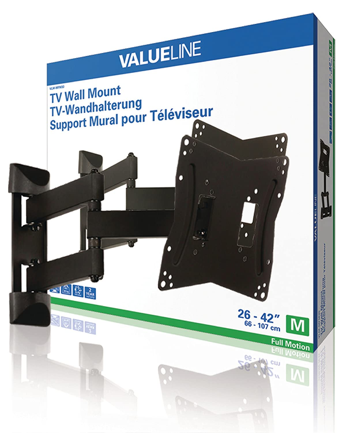 Amazon.com: Valueline TV Wall Mount Full Motion 26   42u0027u0027/66   107 Cm 20 Kg  [VLM MFM30]: Home Audio U0026 Theater