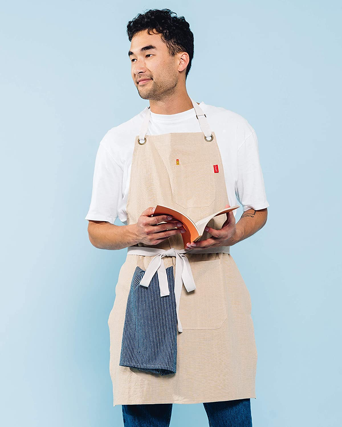 Mens and Womens Linen Bib Apron Grey Caldo Linen Kitchen Apron Adjustable with Pockets