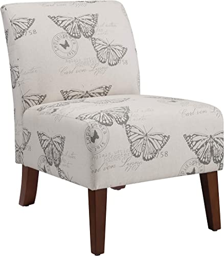 Linon Butterfly, Dark Espresso Linen Lily Chair, 21.5 W x 29.5 D x 31.5 H