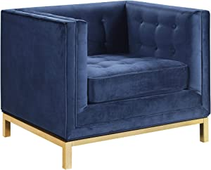 Chic Home Evie Velvet Plush Modern Contemporary Accent Club Chair Navy