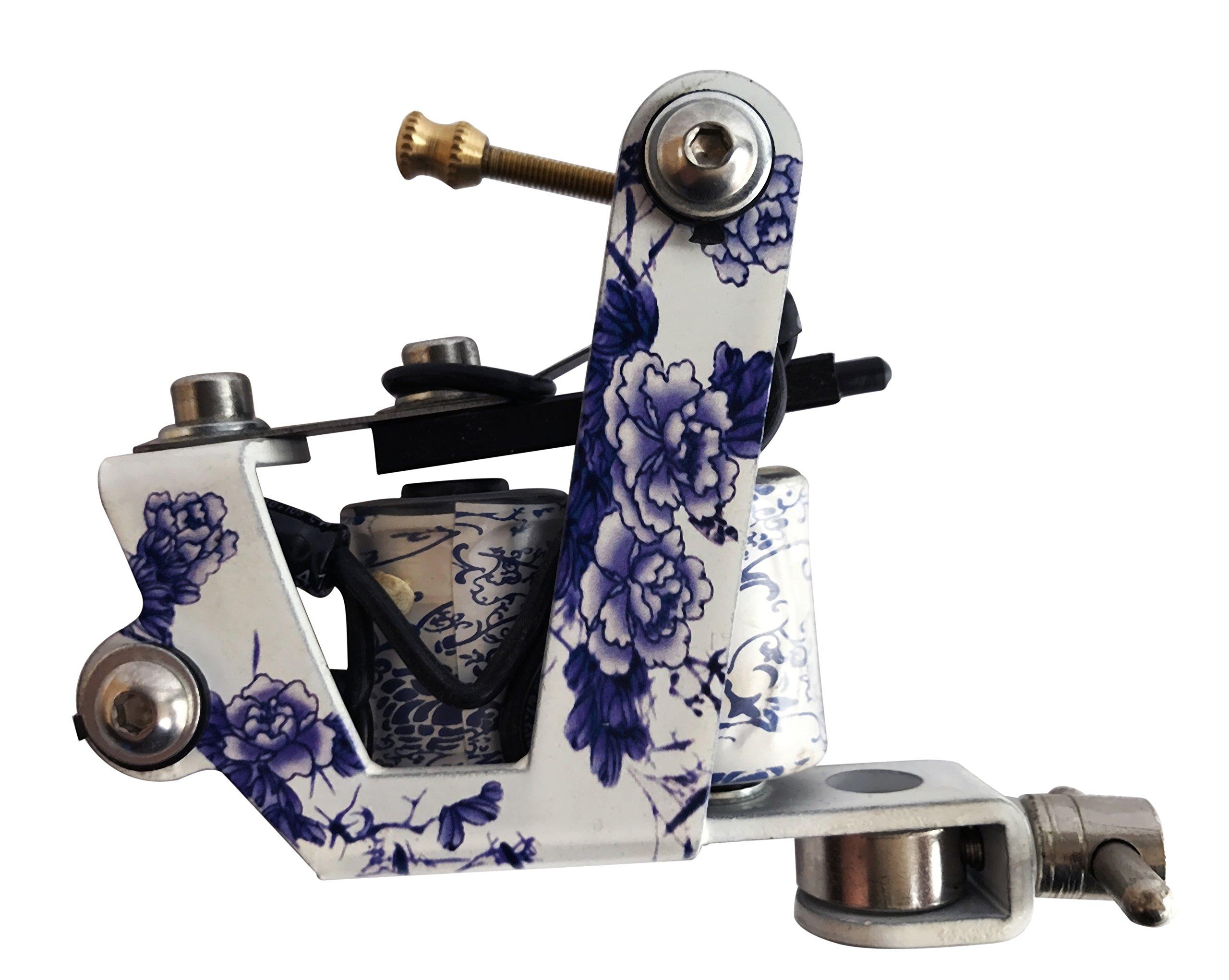 1TattooWorld (2) x Professional Cast Iron 10 Wrap Aluminum Coils Tattoo Machine Liner & Shader, White & Blue, OTW-M105-6