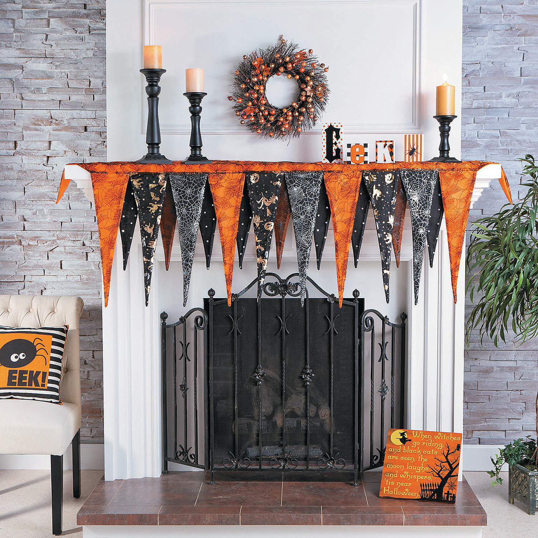 Fun Express - Halloween Mantel Scarf for Halloween - Home Decor - Domestics - Textile Accents - Halloween - 1 Piece