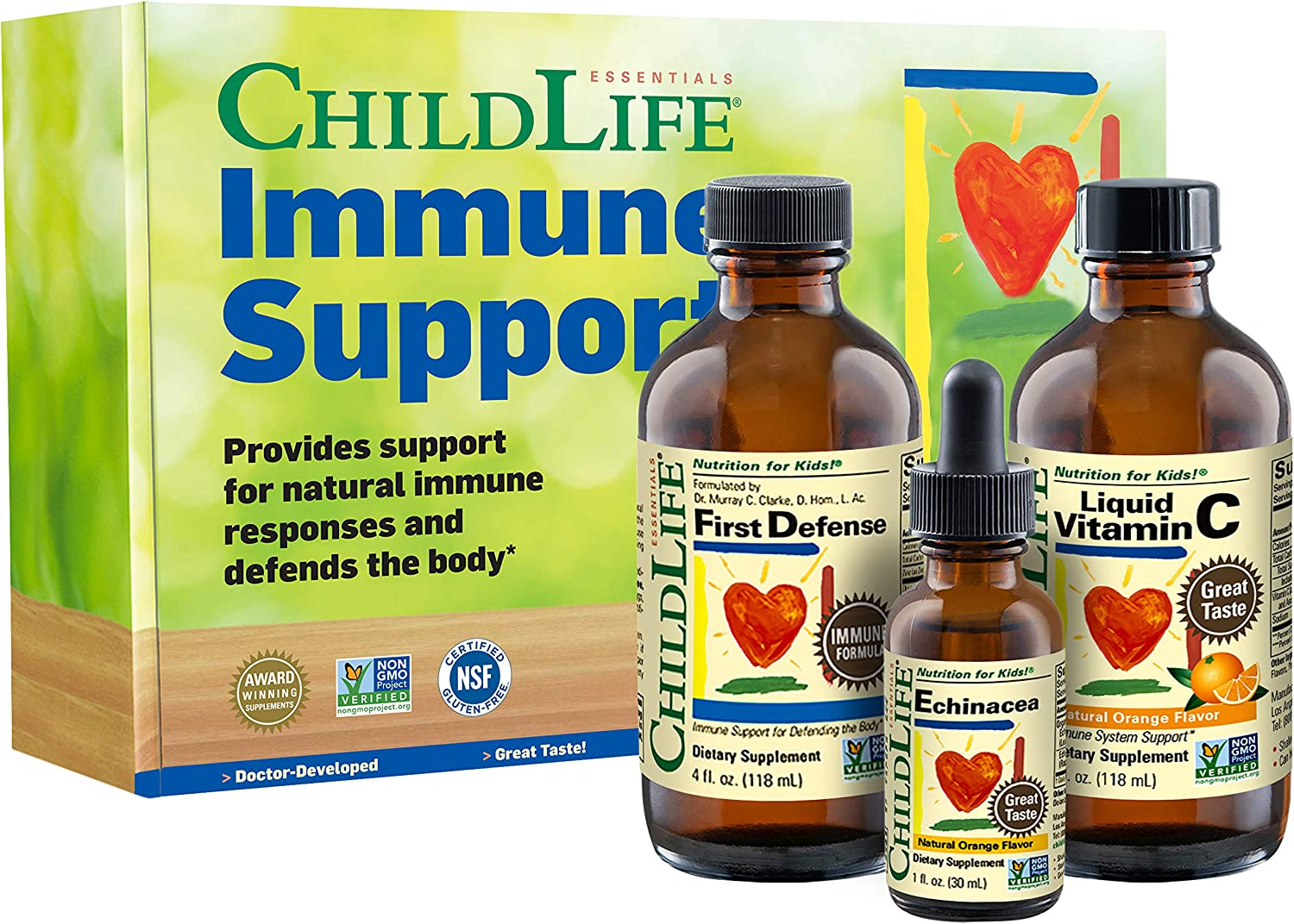 Immune Support 3-Pack for Kids by ChildLife Essentials – Liquid Vitamin C, Echinacea and First Defense Immune Formula with Olive Leaf Extract, St John's Wort and Zinc – Tasty Natural Flavor