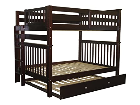 Bedz King Bunk Beds Full over Full Mission Style with End Ladder and a Full Trundle, Cappuccino