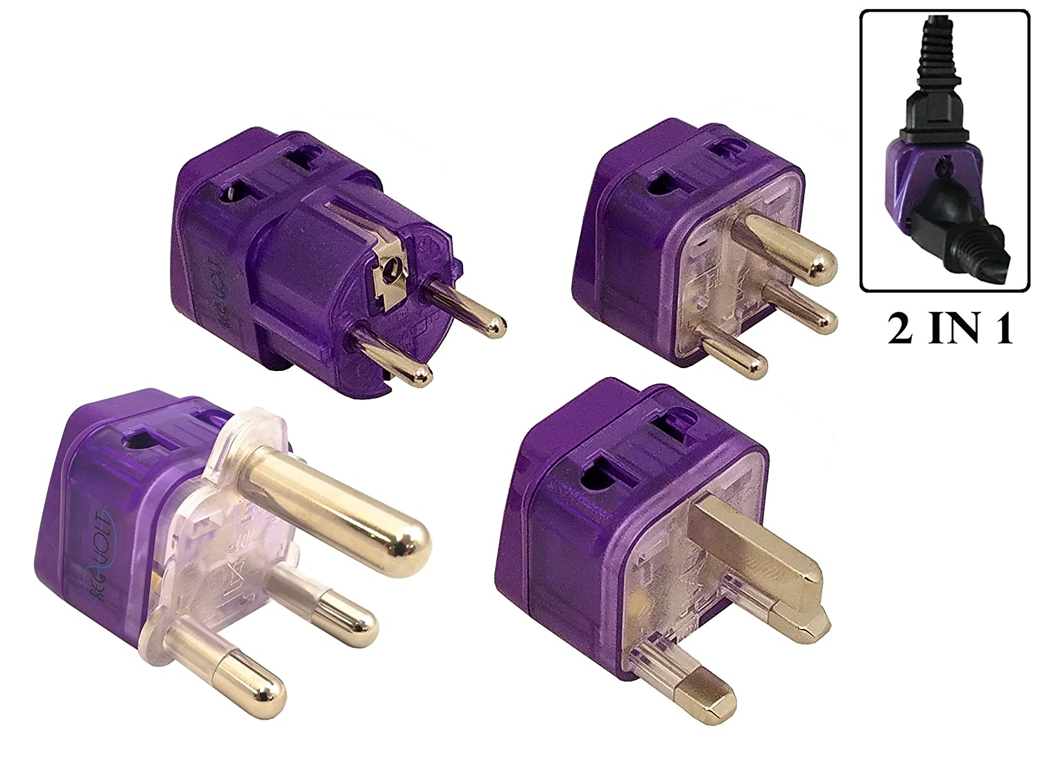 REGVOLT Grounded 2 in 1 Travel Plug Adapter Kit for South Africa, Africa, Europe, Asia, South America, India, Slovakia, Spain, Sweden, Estonia, Morocco and More