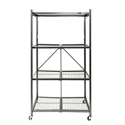 Superbe Origami General Purpose Foldable 4 Shelf Storage Rack With Wheels, Large