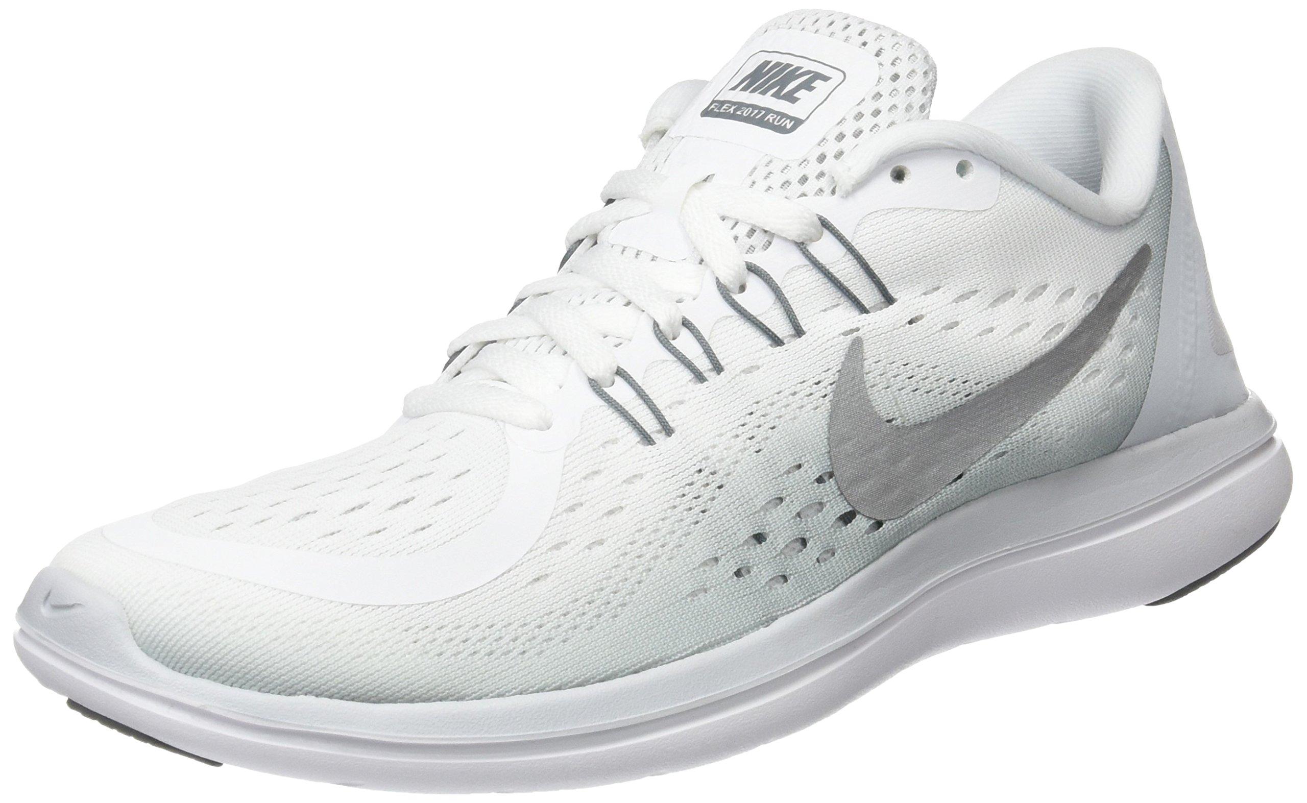 NIKE Women's Flex 2017 RN Running Shoe (7 B(M) US, White/Metallic/Silver)