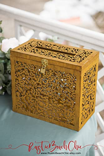 Amazon.com: Wedding Card Box with Lock and Slot, Rustic Wedding ...