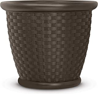 "product image for Suncast 22"" Sonora Resin Wicker Flower Planter Pot - Contemporary Lightweight Flower Pot for Indoor and Outdoor Use, Home, Yard, or Garden - Java"