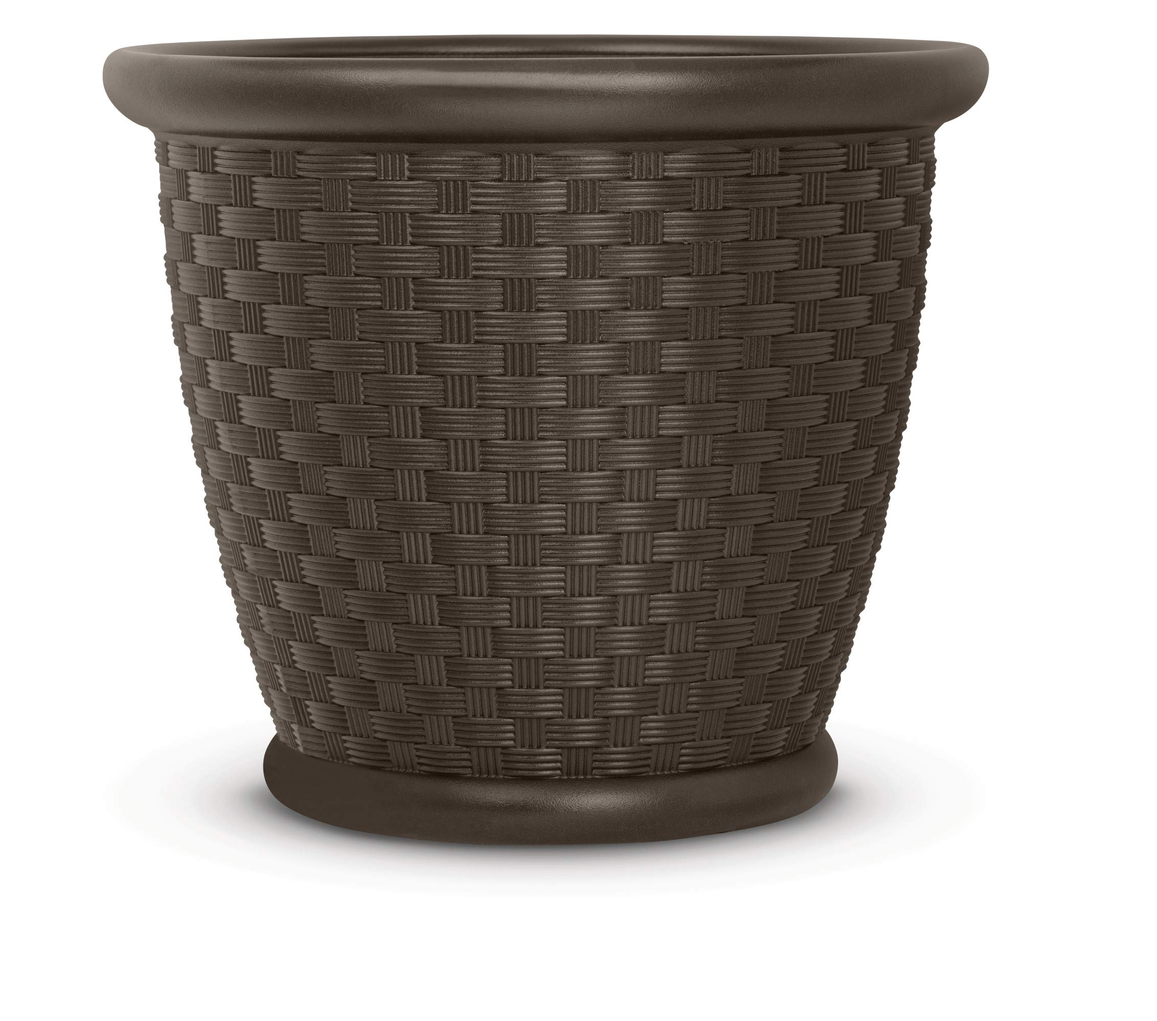 Suncast22'' Sonora Resin Wicker Flower Planter Pot - Contemporary Lightweight Flower Pot for Indoor and Outdoor Use, Home, Yard, or Garden - Java by Suncast