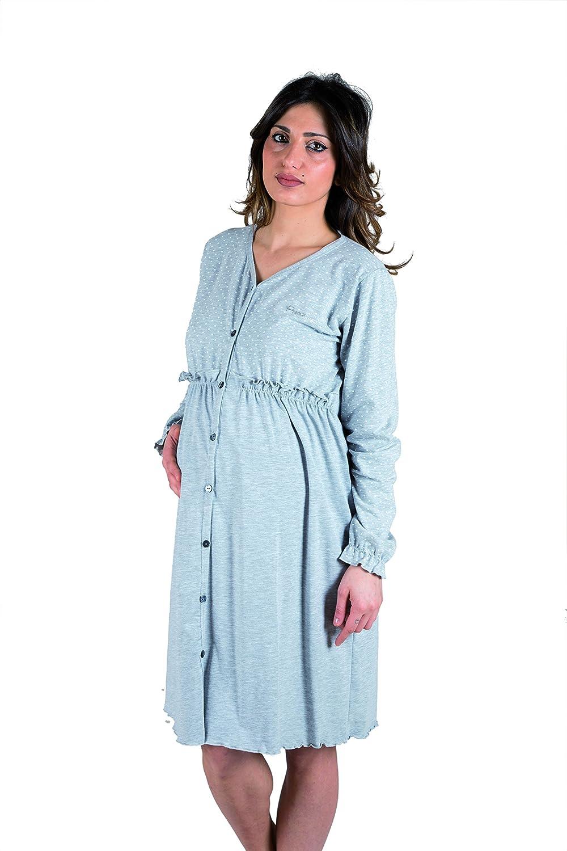 Premamy - Damen Stillnachthemd Schwangerschaft Pre-Postpartum Langarm Baumwolle Stretch