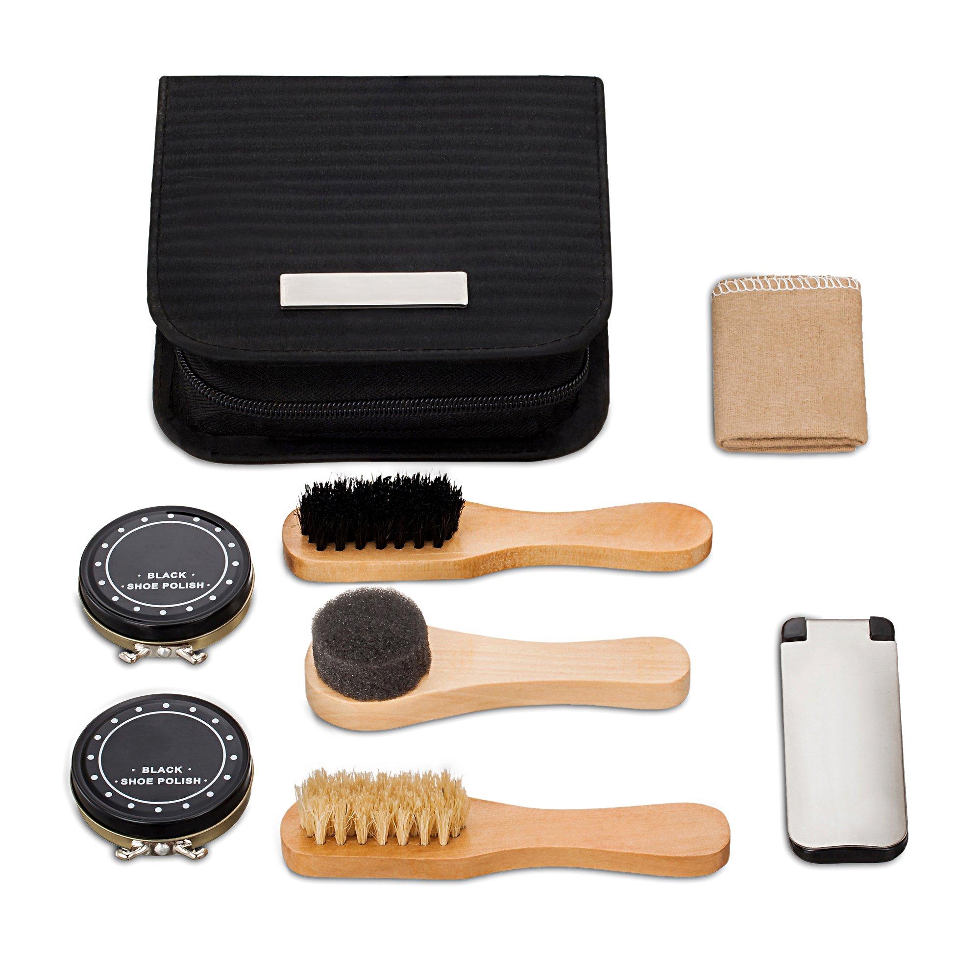 chuanyuekeji Shoe Shine Kit & Shoe Care Valet with PU Leather Sleek Elegant Case, 7-Piece Travel Shoe Shine Brush kit (Black) by chuanyuekeji (Image #6)