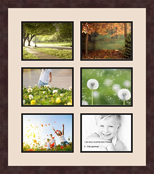 Art to Frames Double-Multimat-1006-693//89-FRBW26061 Collage Frame Photo Mat Double Mat with 6-6x8 Openings and Espresso Frame