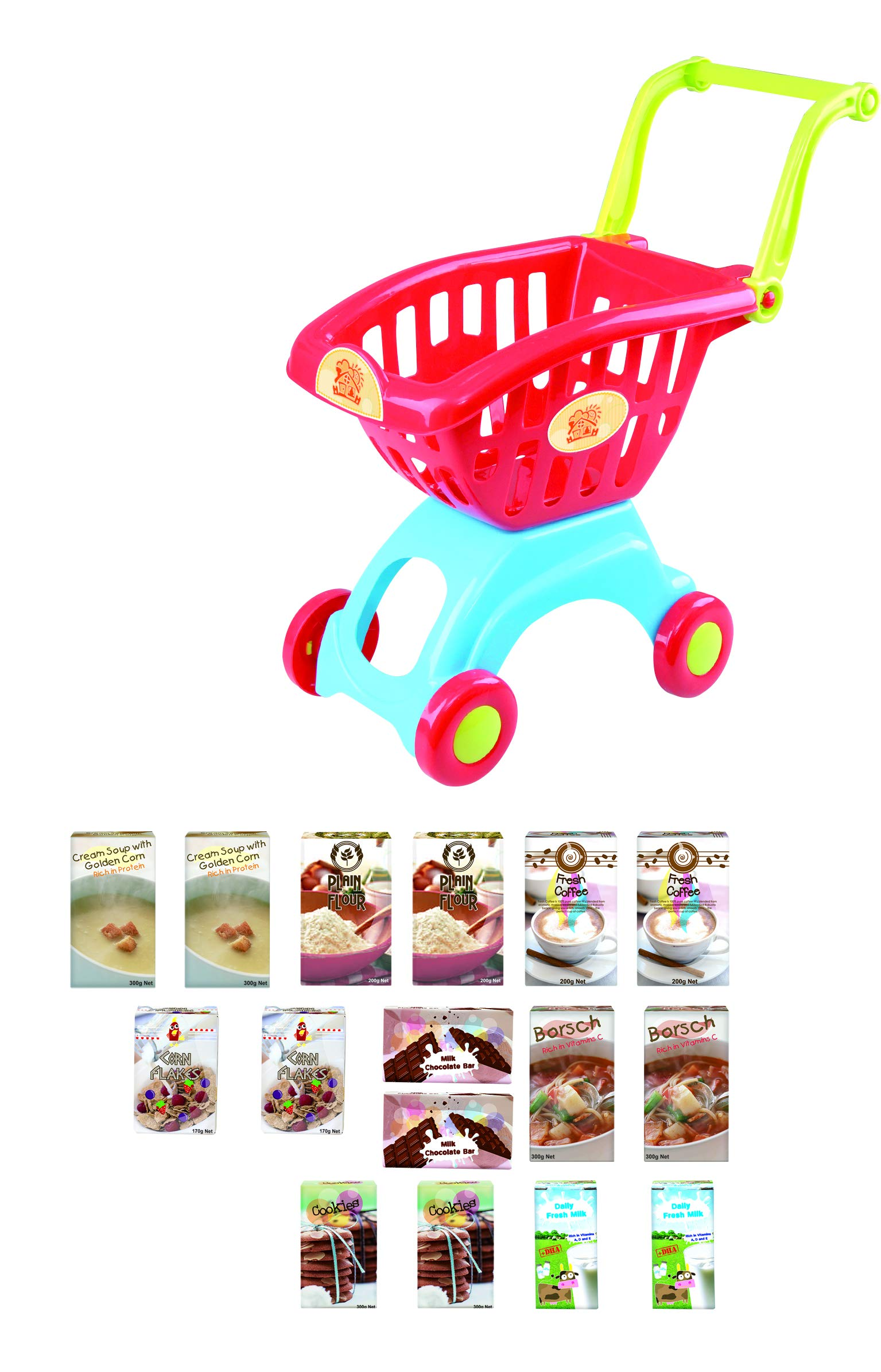 PlayGo Lightweight Shopping Cart Toy 18 Pc Set with Adjustable Handle Pretend Play for Toddler Kids Age 3 Years & Up by PlayGo (Image #3)