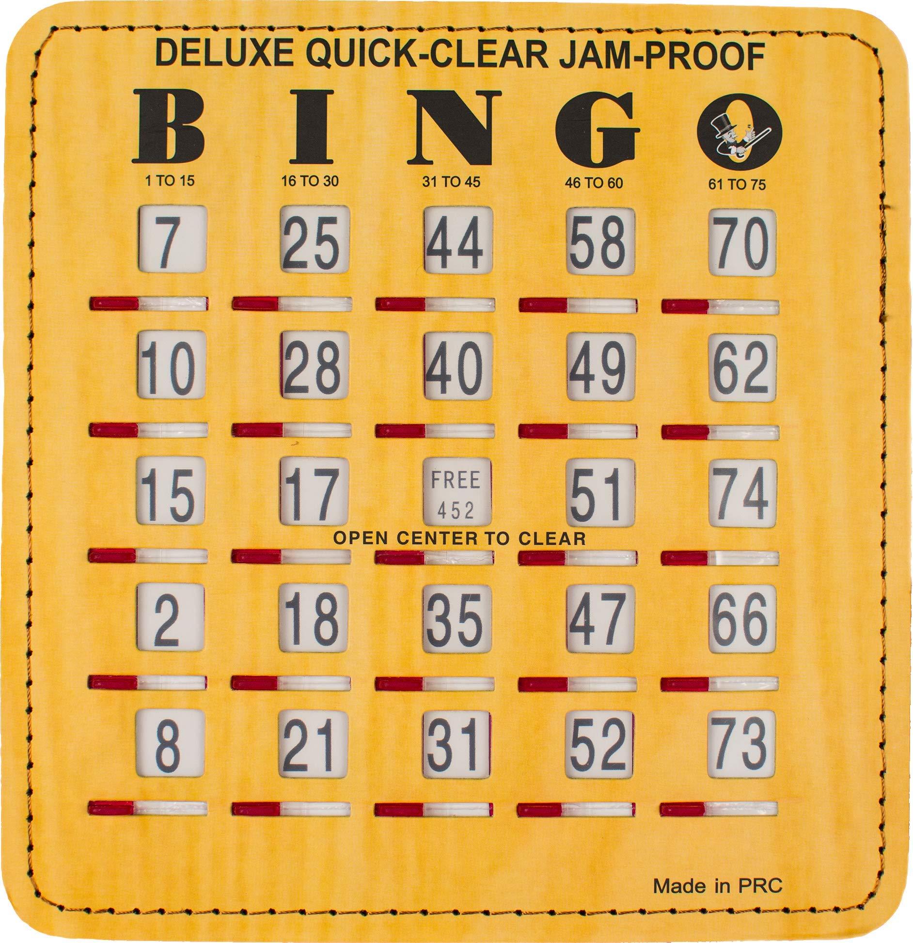MR CHIPS Sliding Bingo Card for Kids and Seniors - Stitched Edges - Reusable - Jam Proof - Woodgrain - 200Pk