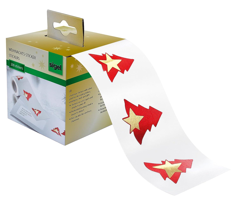 Sigel CS117 Rollo de 200 stickers navideñ os adhesivos, 'Red Trees', Arbol de navidad rojo con estrella dorada Red Trees
