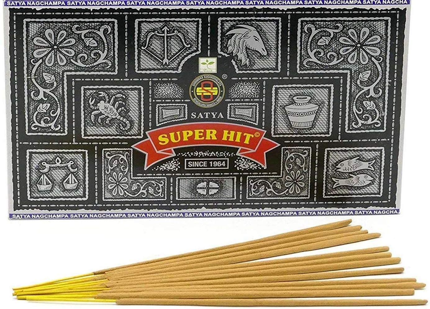 incienso Nag Champa Super Hit Palos Incienso, Madera, Multicolor, 22 x 13 x 8 cm, Unicolor, Caja de 12 Paquetes, 180