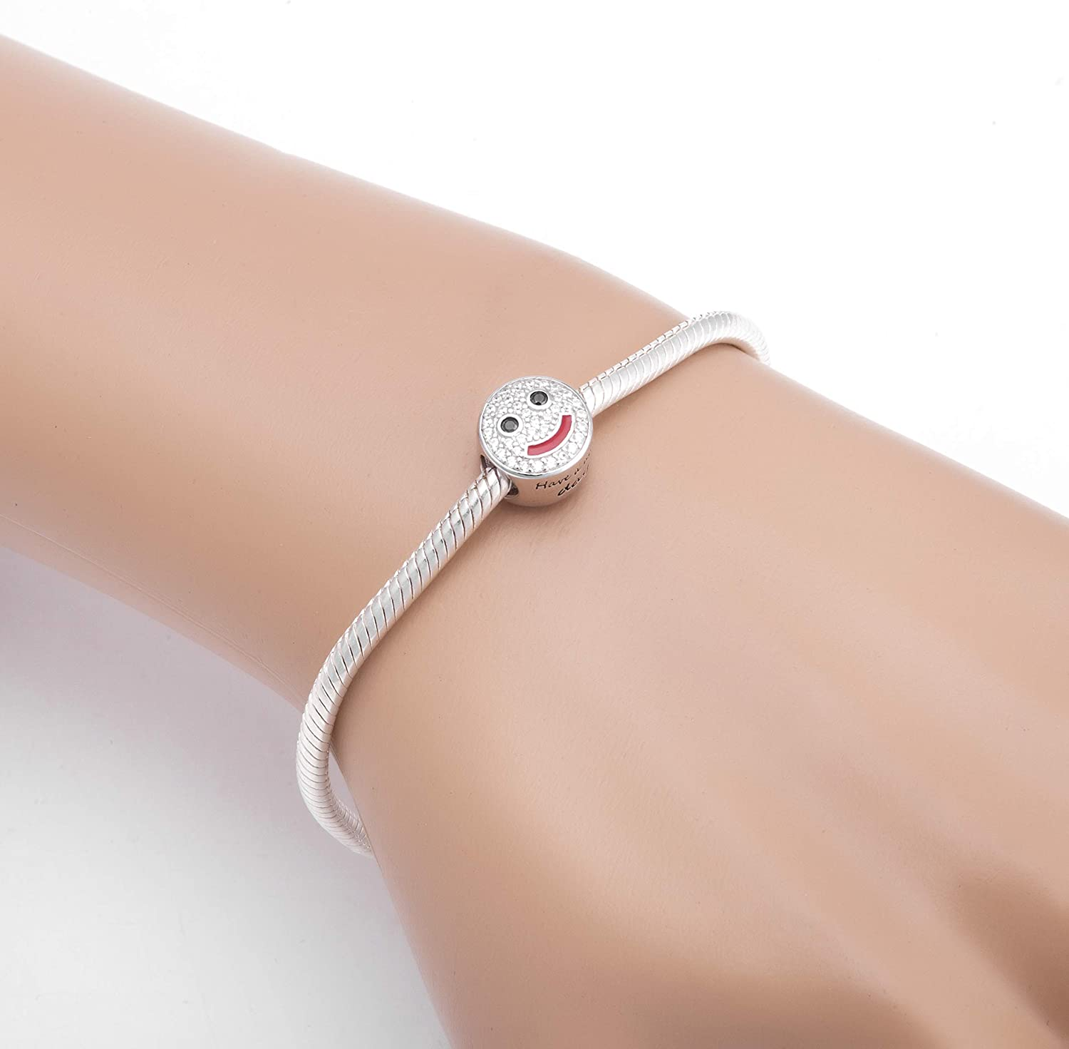 SOUKISS Smiling Face Charms 925 Sterling Silver Have a Nice Day Charms Fits European Bracelet