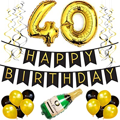 40th Birthday Party Pack Black Gold Happy Bunting Poms And Swirls Decorations Supplies