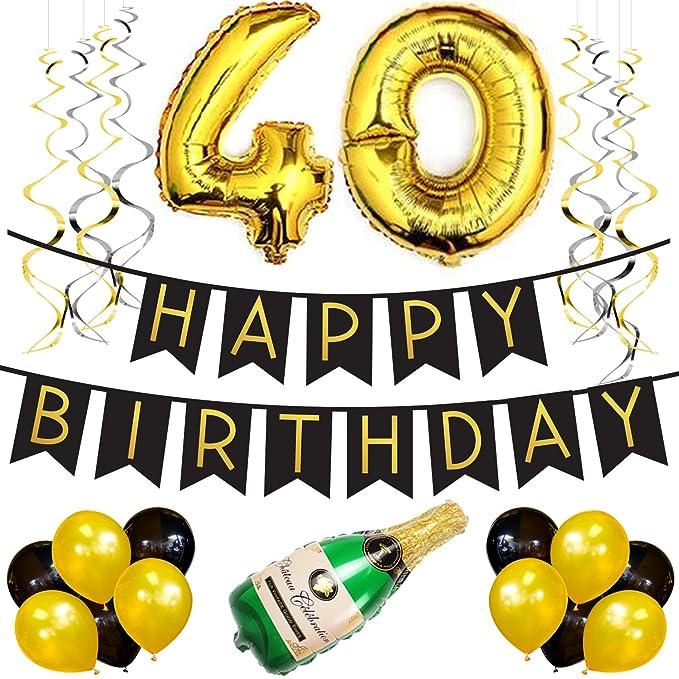 Sterling James Co. Paquete para Fiesta de Cumpleaños Número 40 – Paquete con Banderín de Feliz Cumpleaños Negro y Dorado, Pompones y Serpentinas- ...