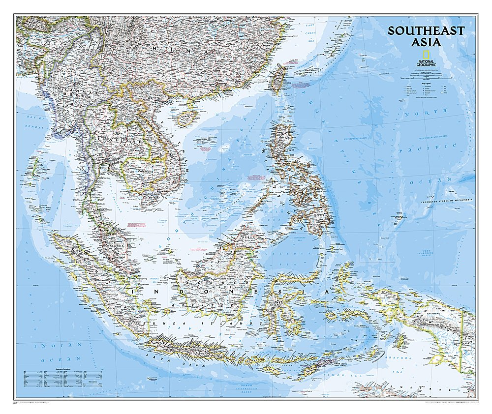 Map Of The Countries In Asia.Southeast Asia Classic Tubed Wall Maps Countries Regions