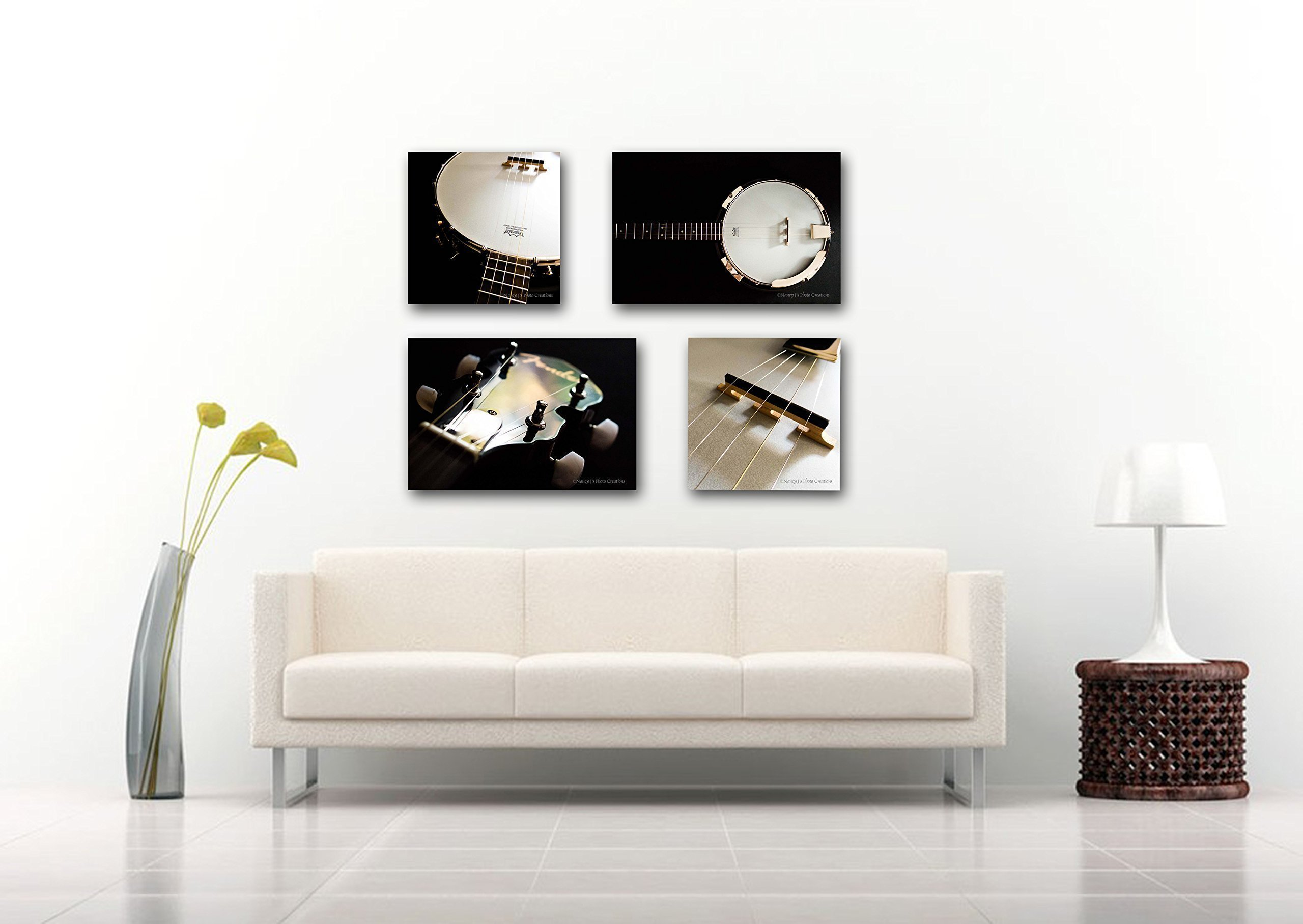 Banjo FOUR Photos on CANVAS SET Music Decor White Gold Black Musical Instrument Photography Home or Office Decor Gallery Wrapped Prints Ready to Hang 8x8 8x12 12x12 12x18 16x16 16x24 20x20 20x30